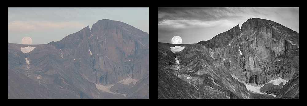 Moonset Beside Longs Peak. Before and After.