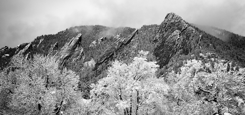 Autumn Snow on the Flatirons. Boulder, Colorado, 2012