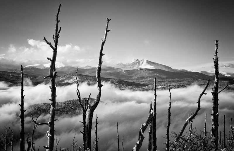 Longs Peak from the South, Late Afternoon. From Sugaloaf Mountain, 2012