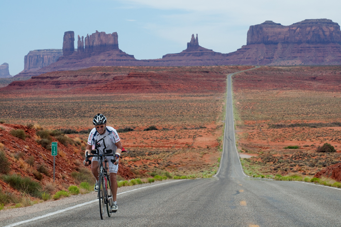 Dex Tooke crosses Monument Valley, RAAM 2011.