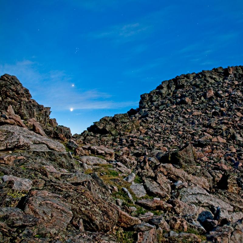 Pleiades, Jupiter, Venus & Aldebaran. Twin Sisters Peak, RMNP, Colorado, 2012