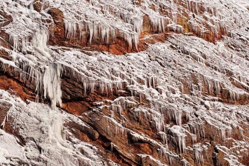 Icicles on Redgarden Wall. Eldorado Springs Canyon, Colorado, 2013