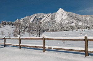Spring Snow on the Flatirons. Boulder, Colorado, 2013
