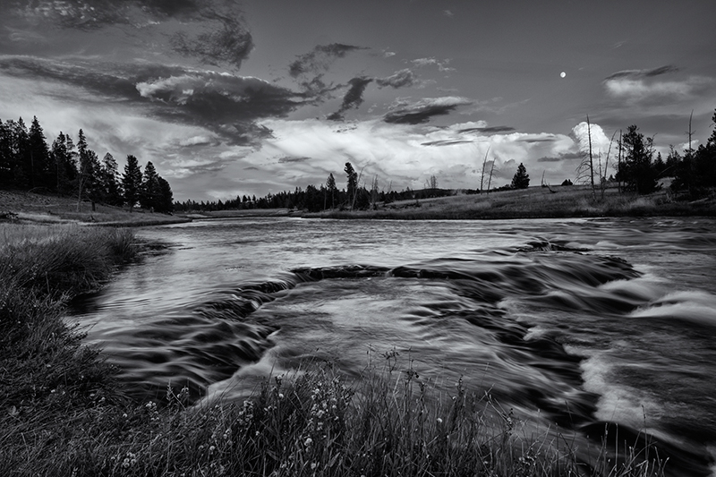 Moonrise, Firehole River. Yellowstone NP, Wyoming, 2013
