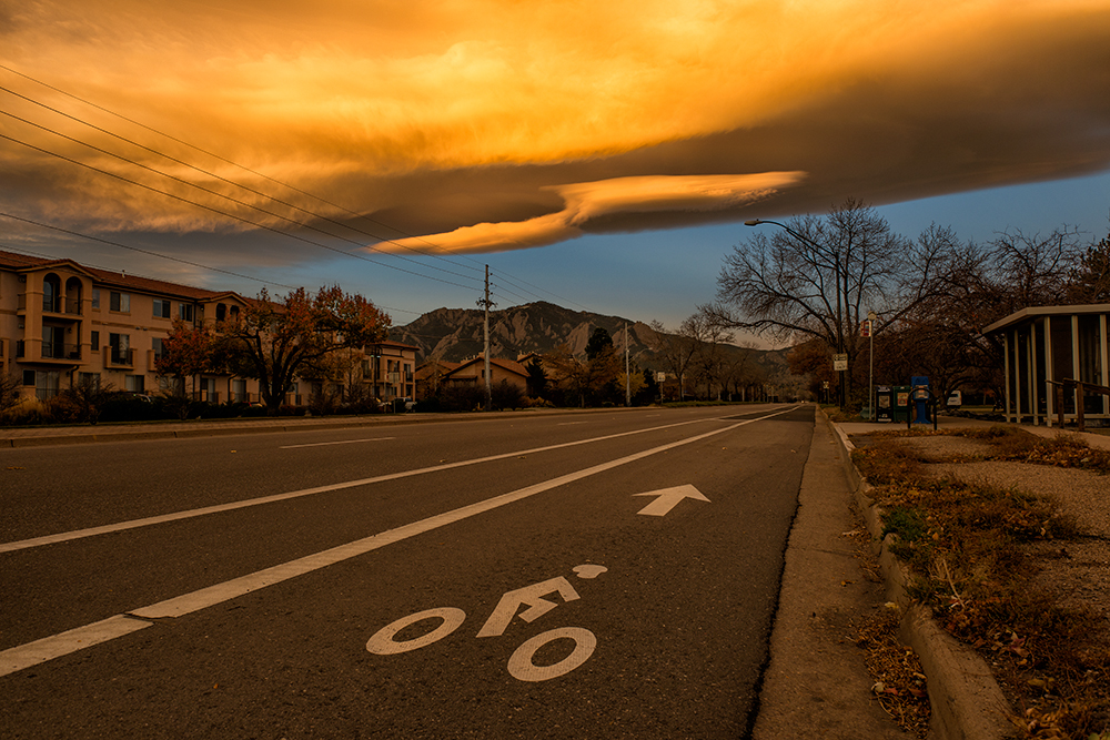 Sunrise on Baseline Road. Boulder, Colorado, 2013