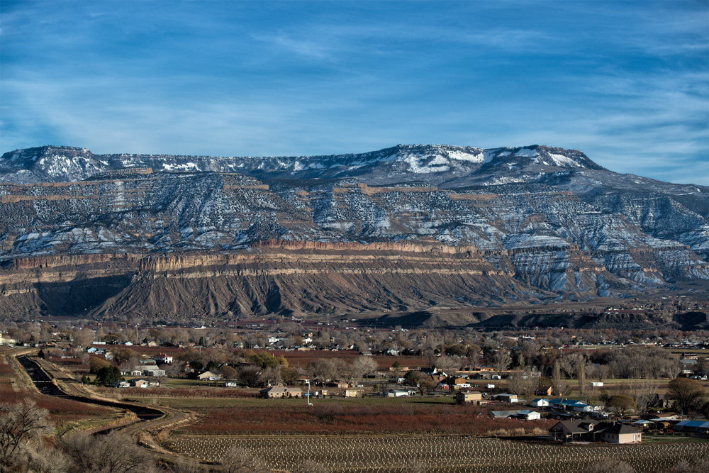 Vineyards & Book Cliffs to the east. Palisade, Colorado, 2013