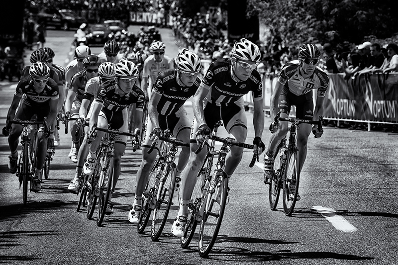 Setting Up the Sprint. The pro peloton in Denver, Colorado in August, 2013. (Here's hoping they are all clean now!)