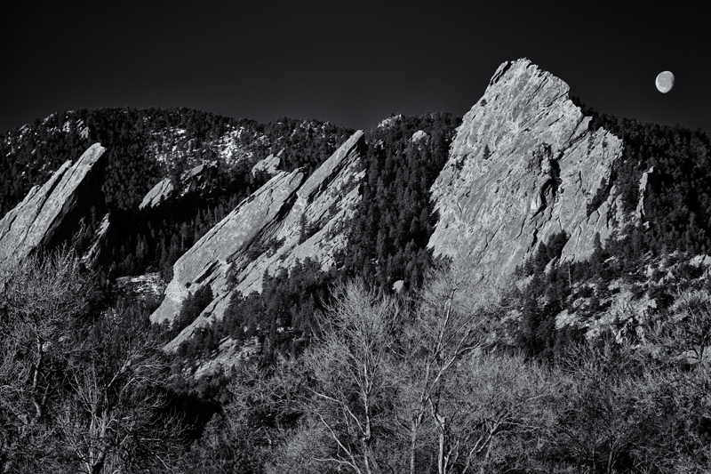 Flatirons Moonset. Boulder, Colorado, 2014