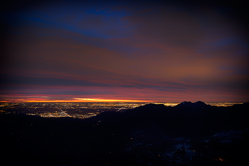 Boulder-Denver, pre-dawn. Sugarloaf Mountain, Colorado, 2014