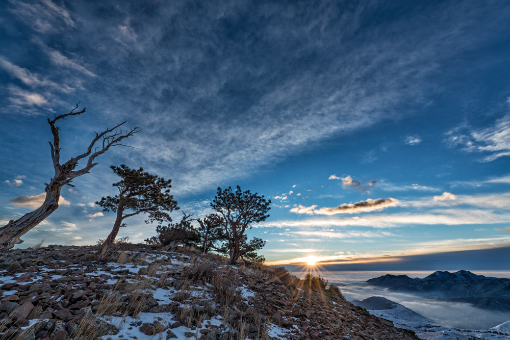 Sugarloaf Summit at Dawn. Colorado, 2014 (Green Mountain to the right above the fog)