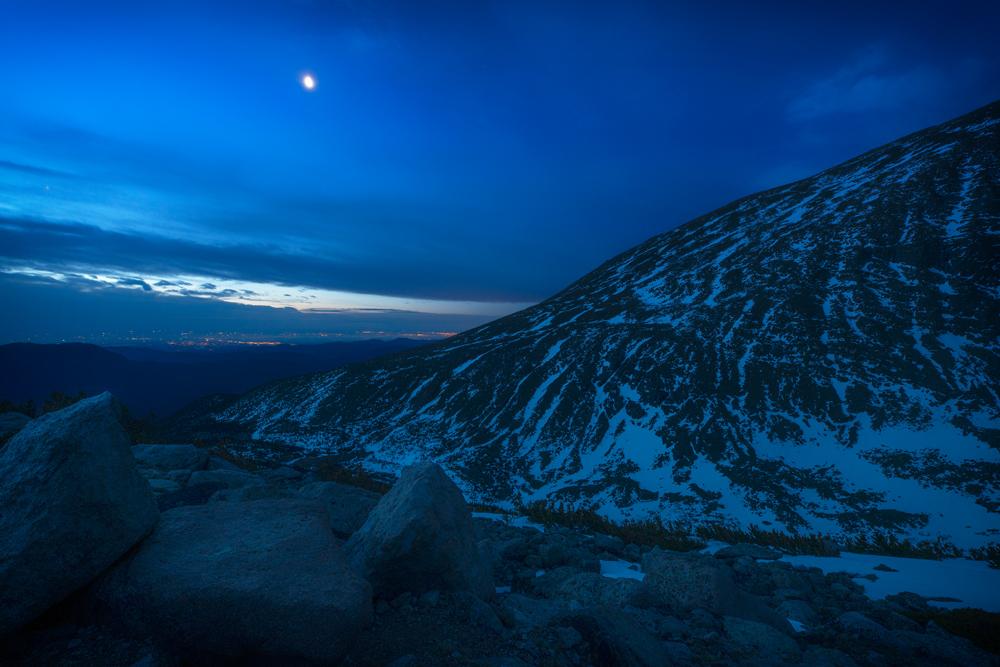 Pre-Dawn Moon Over Denver. Chasm Lake - Longs Peak Trail split, RMNP, Colorado, 2014