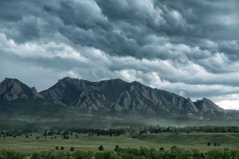 Flatirons & Approaching Storm. Boulder, Colorado, 2014