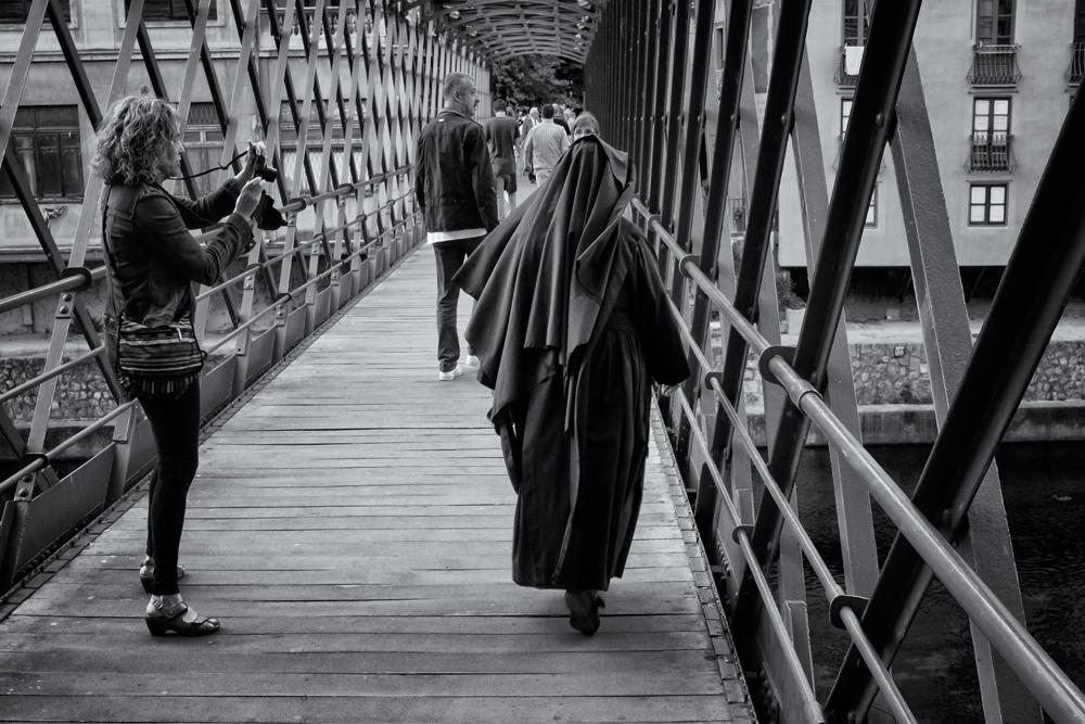 Street Photographer in Action. Girona, Catalunya, 2014