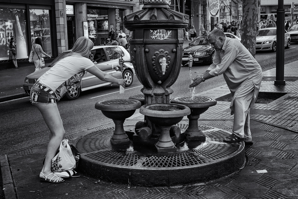 Cultural Contrasts (But we all need water.) Barcelona, 2014