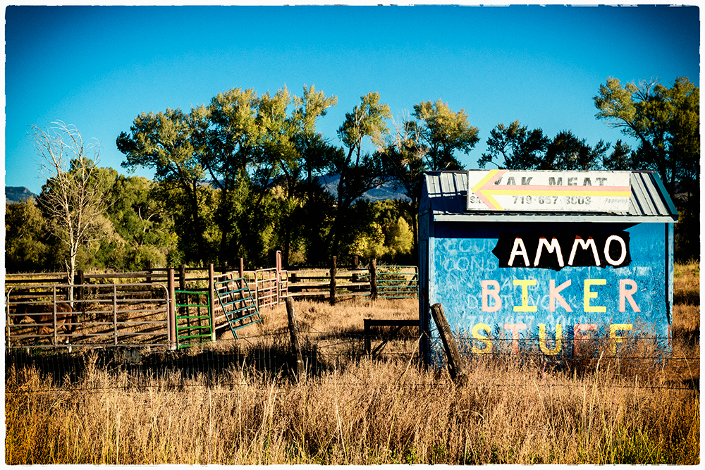 Yak Meat, Ammo, and Biker Stuff. Rural Colorado, 2014