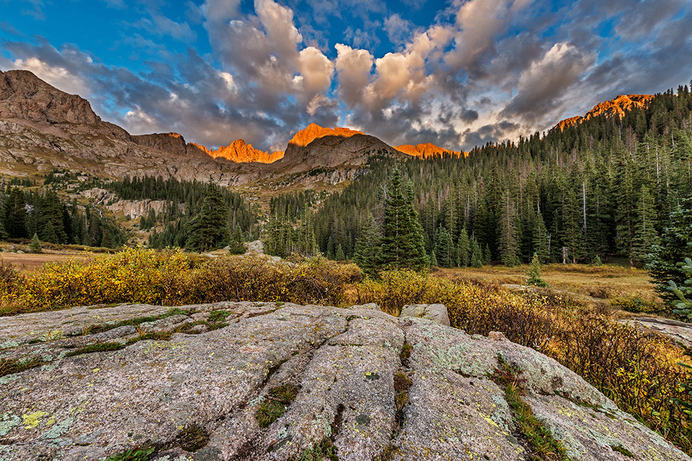 Fall Sunset, Chicago Basin, #1. Needle Mountains, Colorado, 2014 (Third post-processing attempt.)