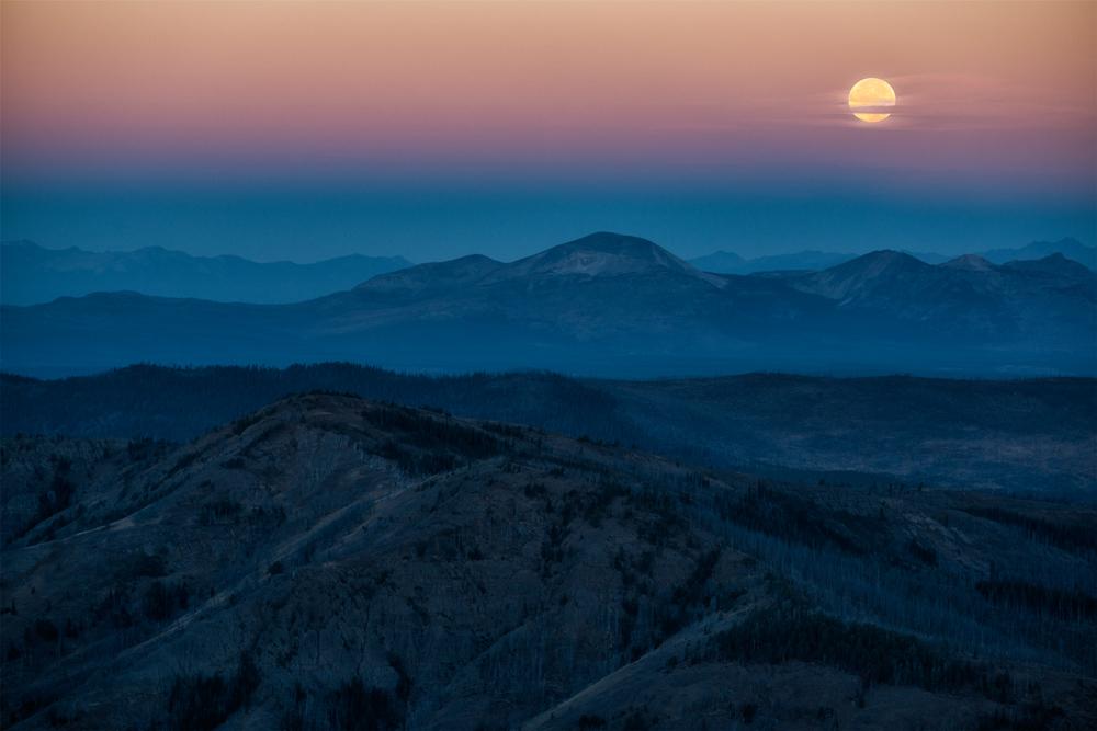 Moonset, #1. Mount Washburn, Yellowstone NP, Wyoming, 2014