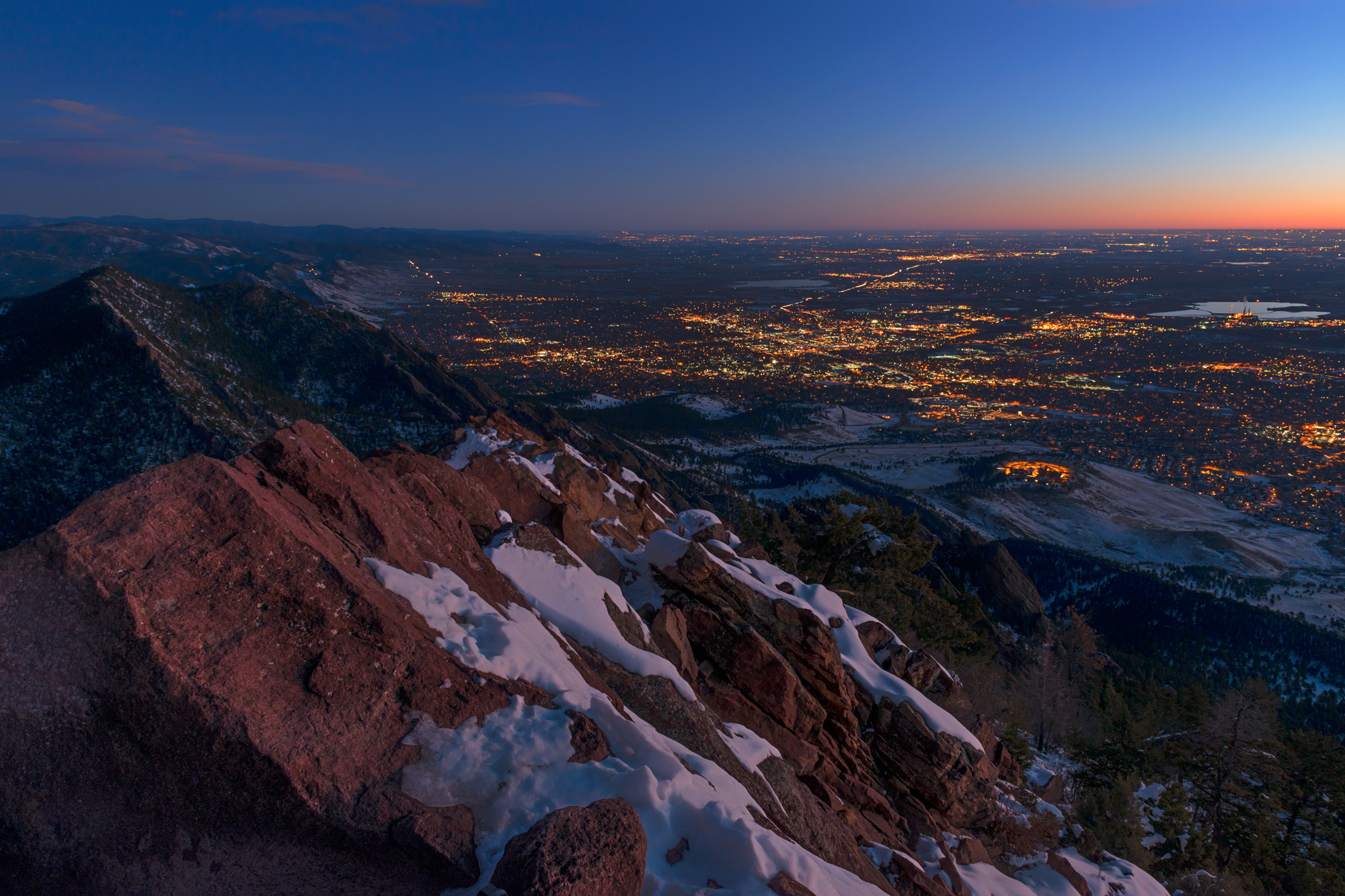 Dawn Over Boulder. Bear Peak, Boulder, Colorado, 2014