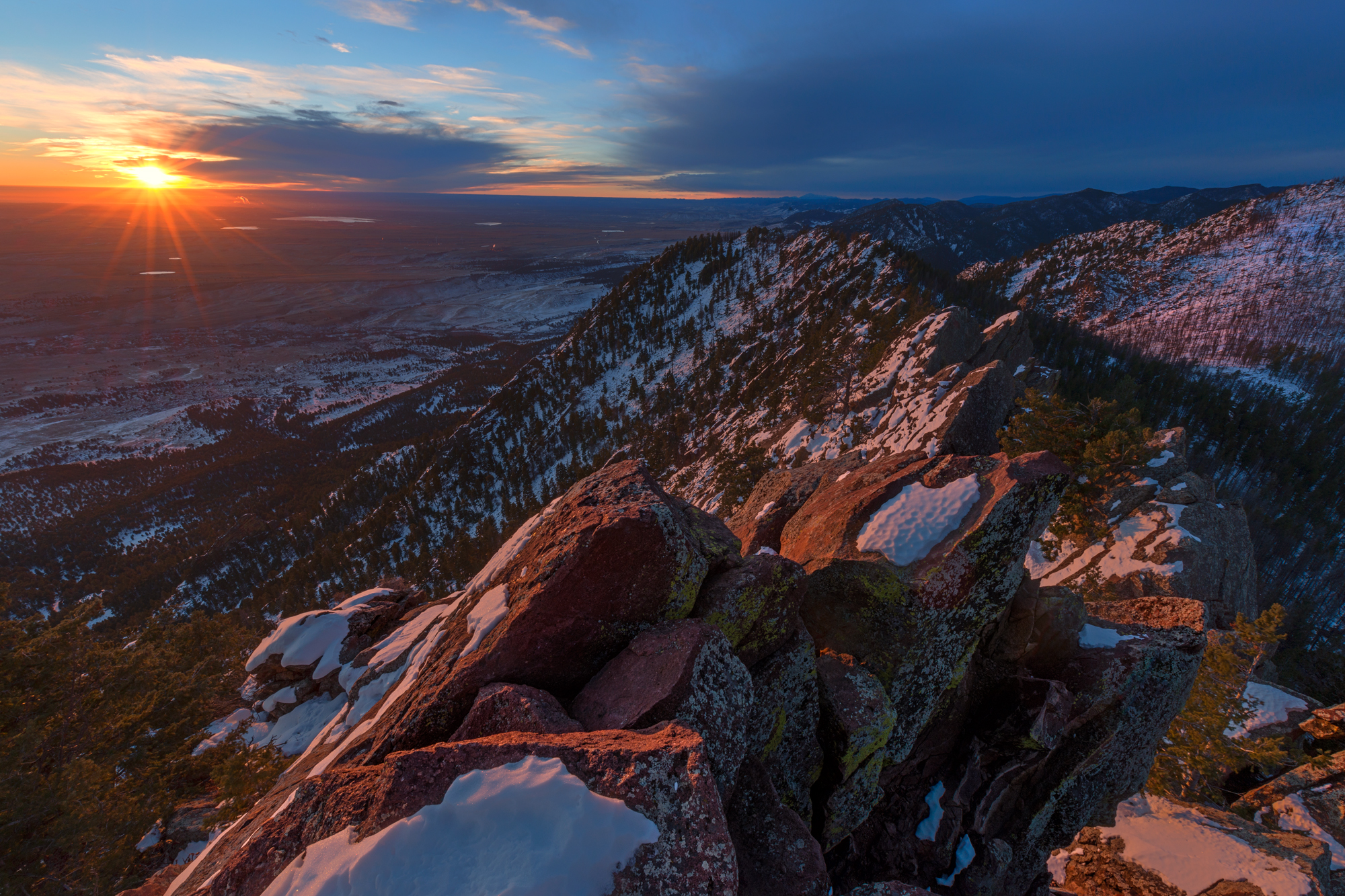 The View South at Sunrise. From Bear Peak, Boulder, Colorado, 2014