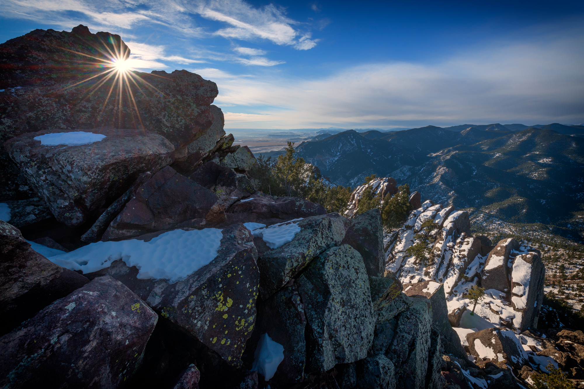 Sunburst on South Boulder Peak Summit. South Boulder Peak, Boulder, Colorado, 2014