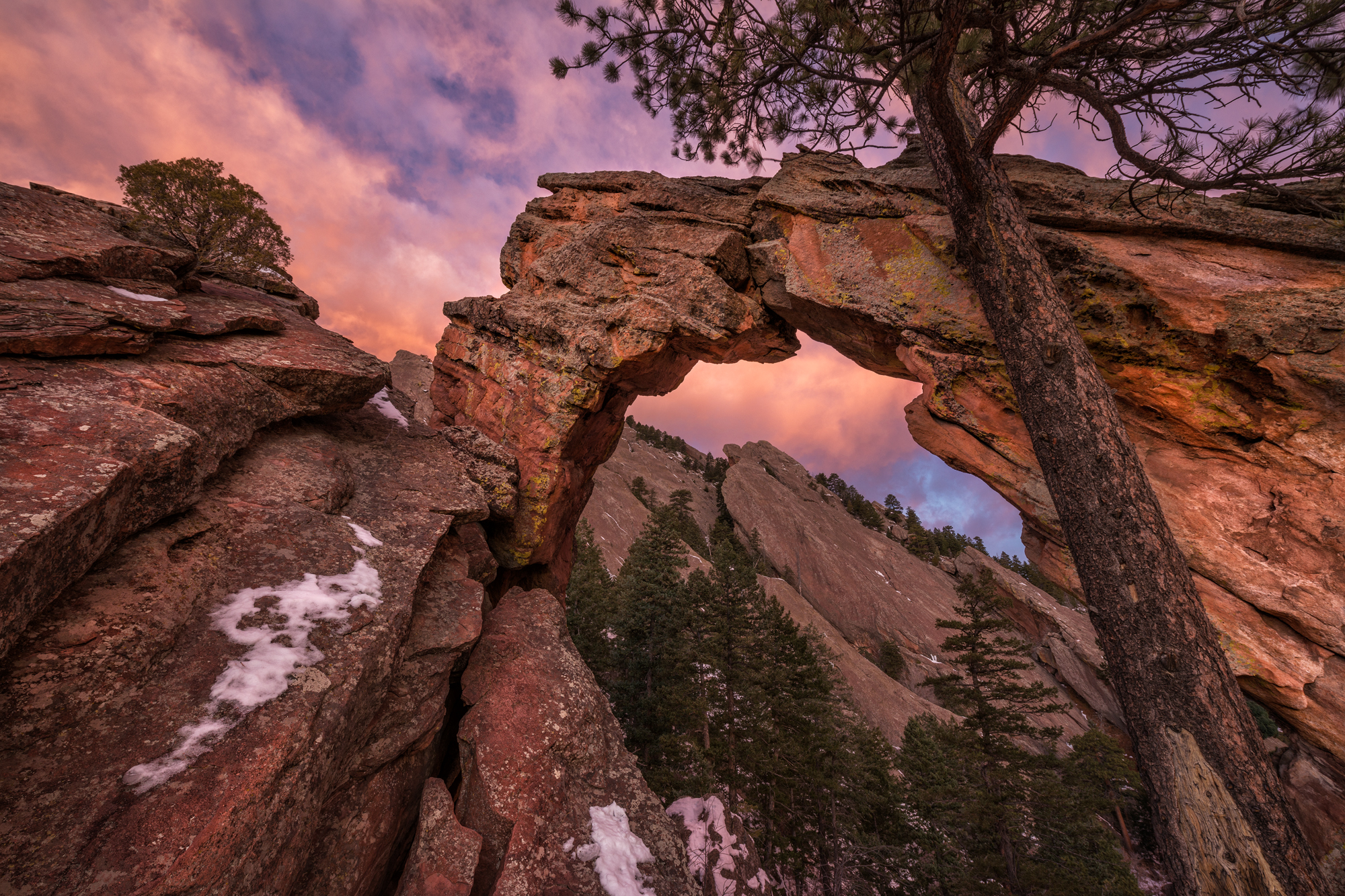 Pre-Dawn Glow at Royal Arch. Boulder, Colorado, 2014