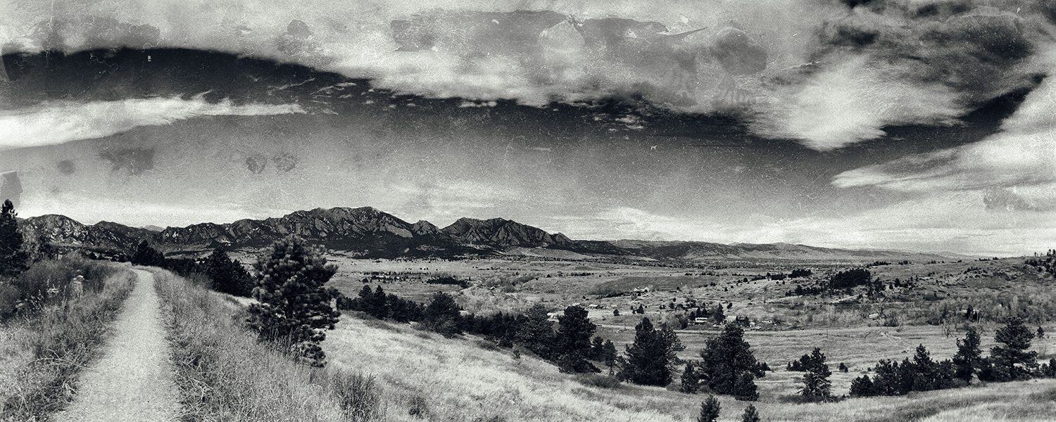 Flatirons Pano from Marshall Mesa. Boulder, Colorado, 2014