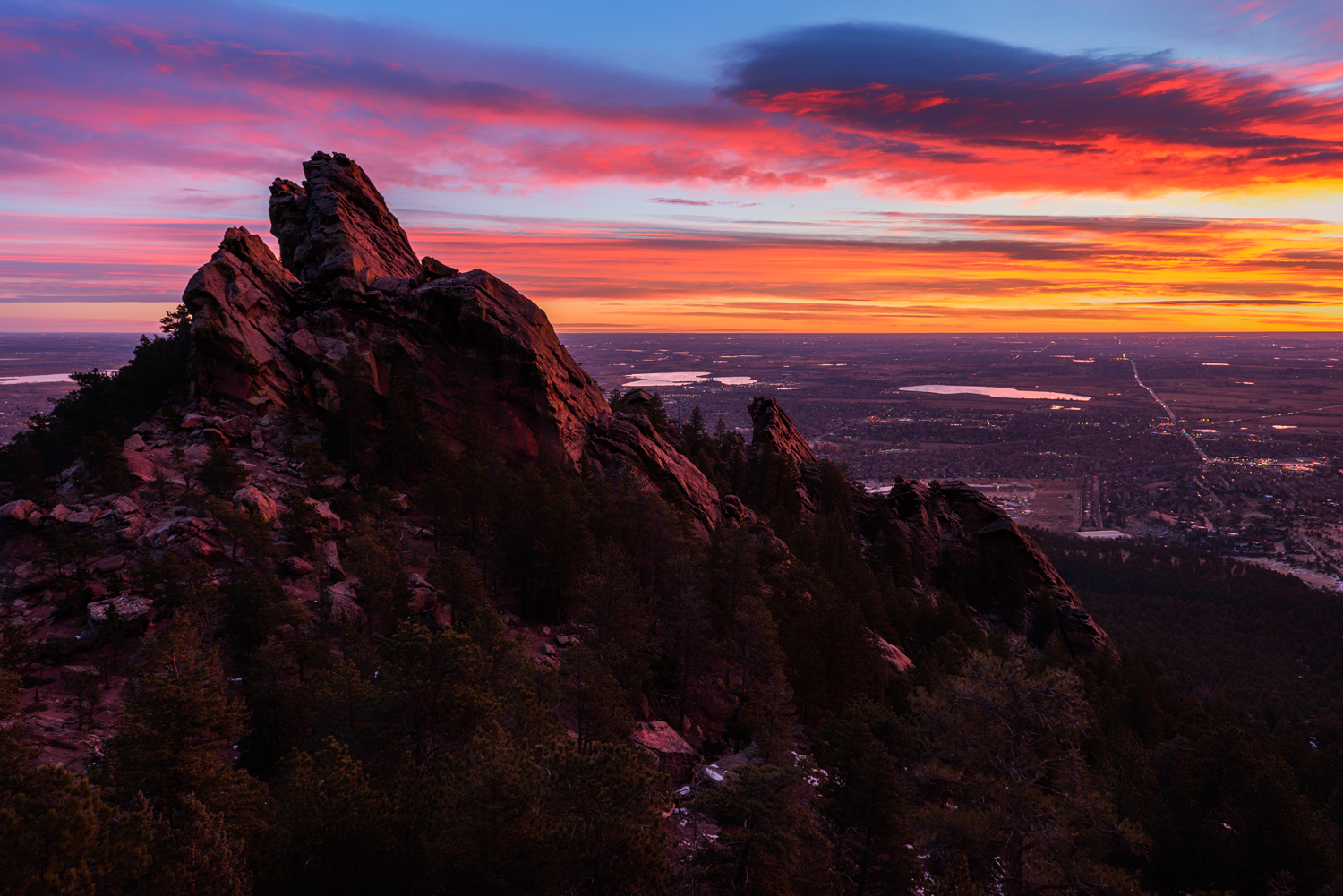 Fiery Sunrise, First Flatiron. Boulder, Colorado, 2014