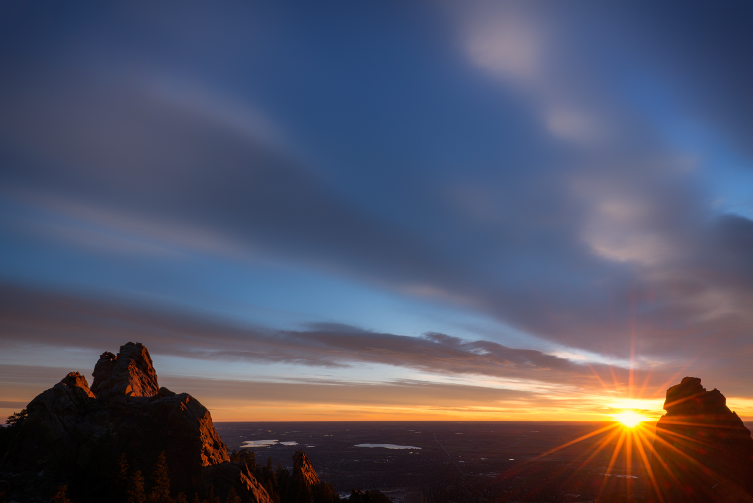 Sunrise Between First and Third Flatirons. Boulder, Colorado, 2014