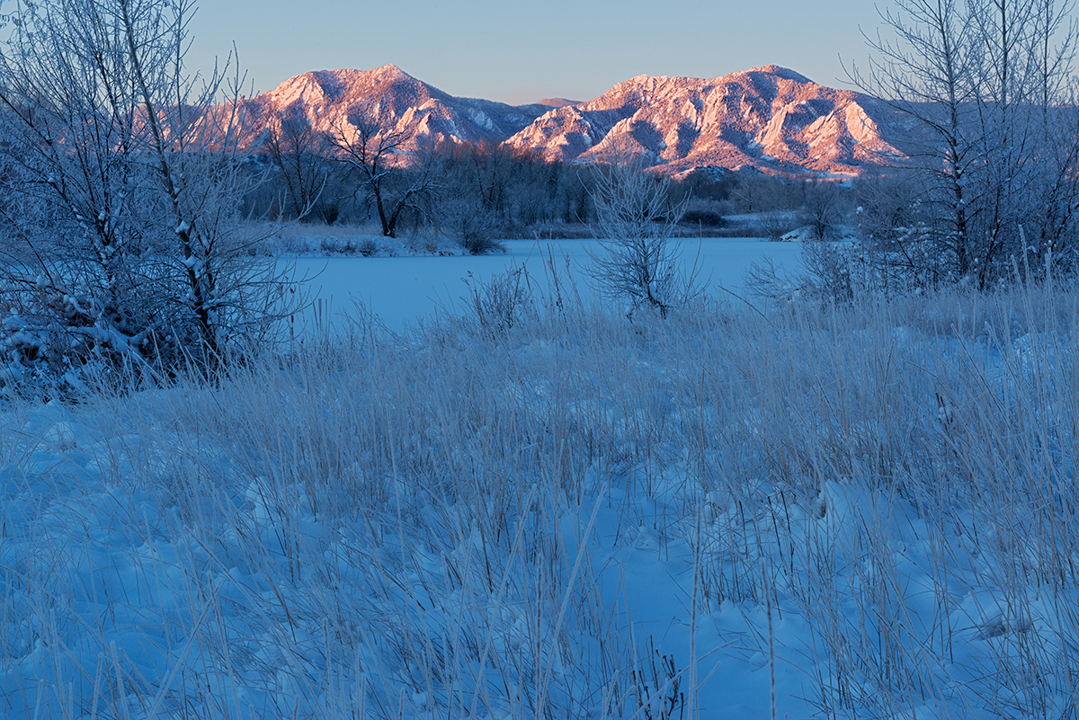Flatirons Sunrise, #2. Sawhill Ponds, Boulder, Colorado, 2014