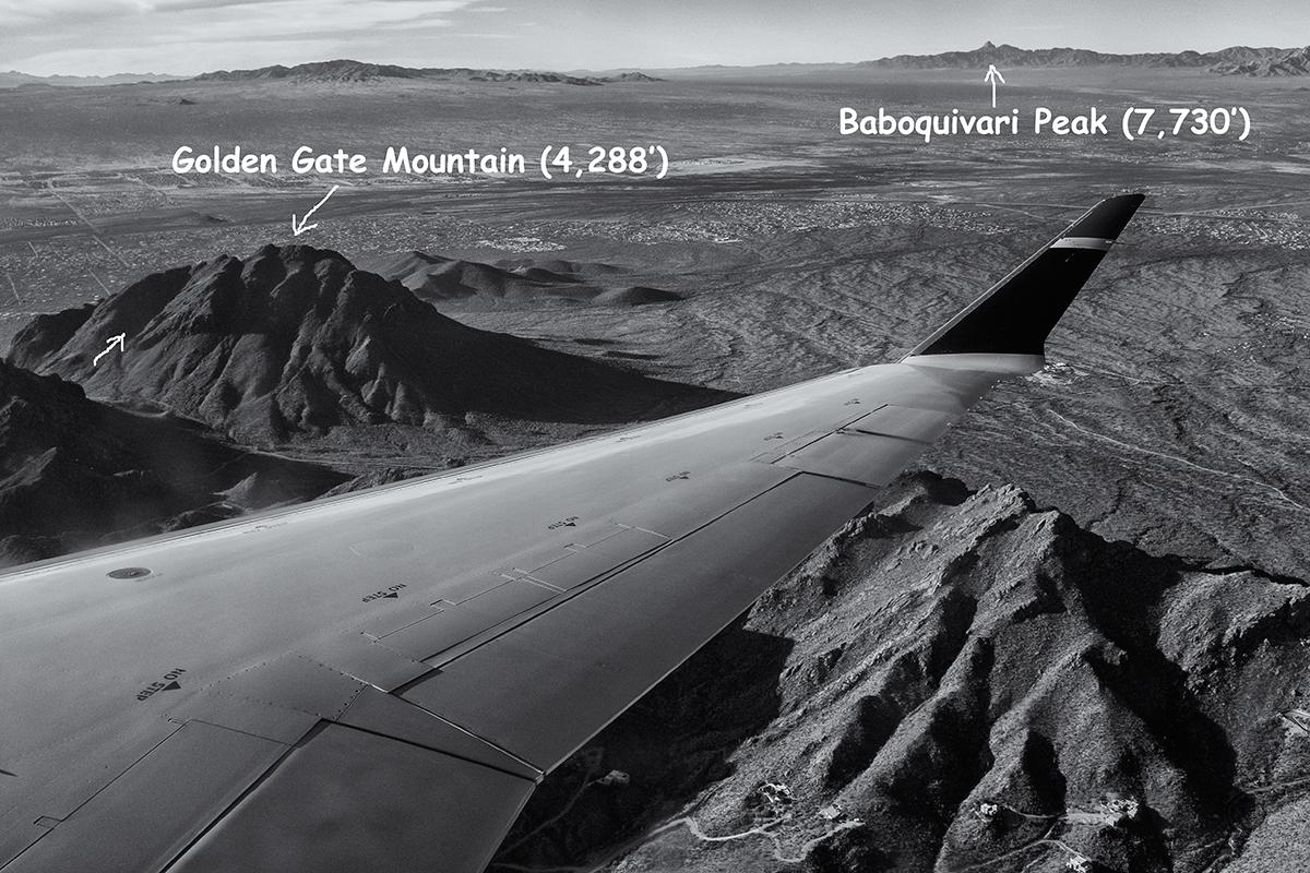 Airborn view of Golden Gate Mountain. Tucson Mountains, Arizona, 2015