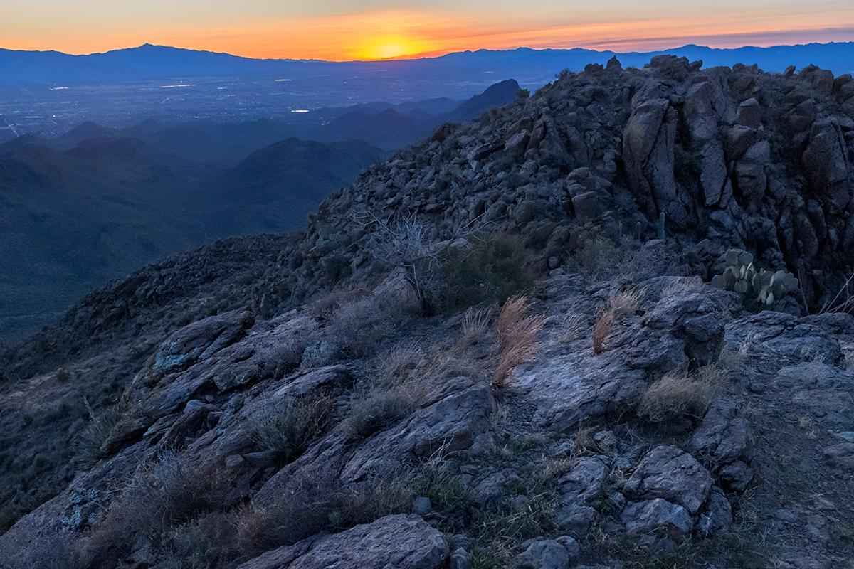 Sunrise from Golden Gate Mountain. Tucson Mountains, Arizona, 2015