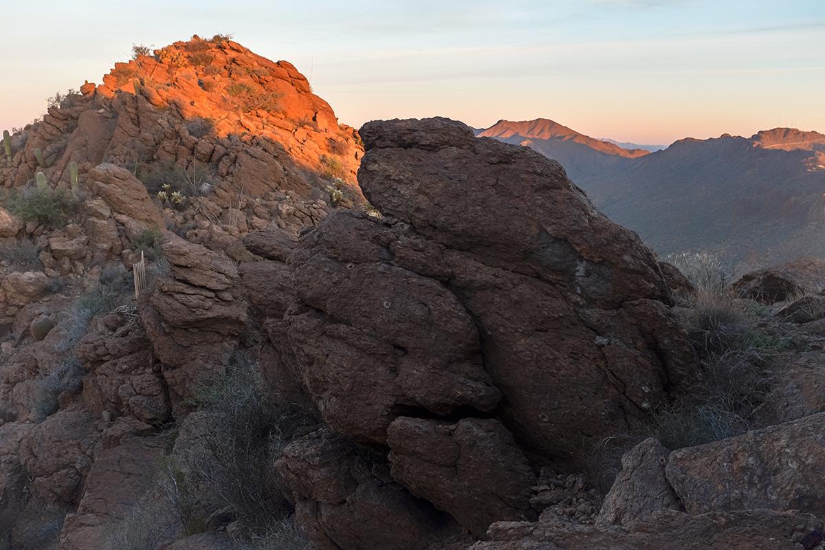 Sunrise from Golden Gate Mountain, #2. Tucson Mountains, Arizona, 2015