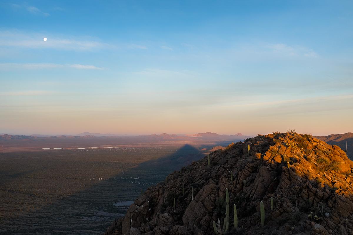 Sunrise on Golden Gate Mnt Summit, #3. Tucson Mountains, 2015