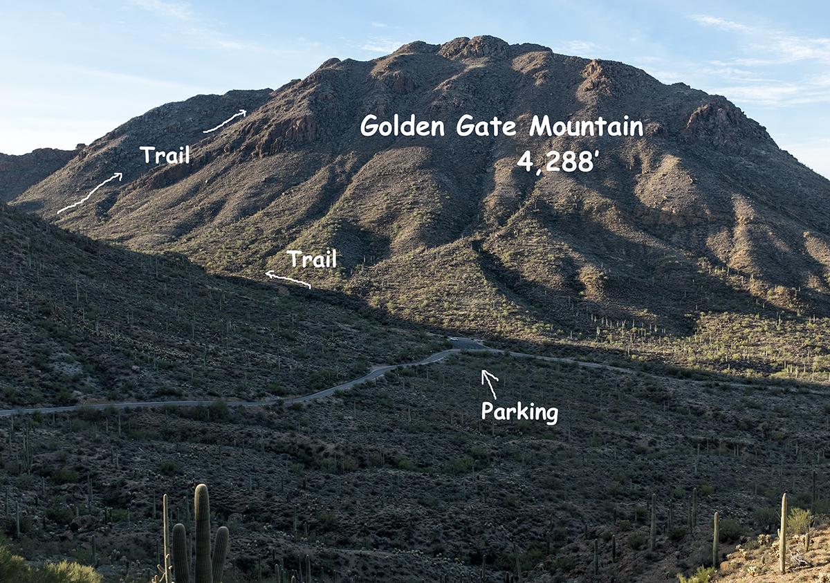 View of Golden Gate Mountain. Tucson Mountains, Arizona, 2015