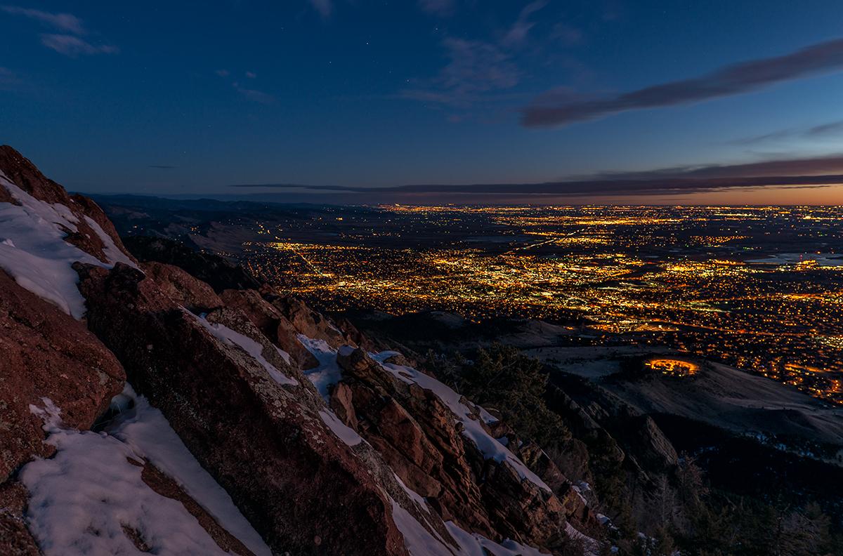 Front Range Metropolis at Dawn. From Bear Peak, Colorado, 2015