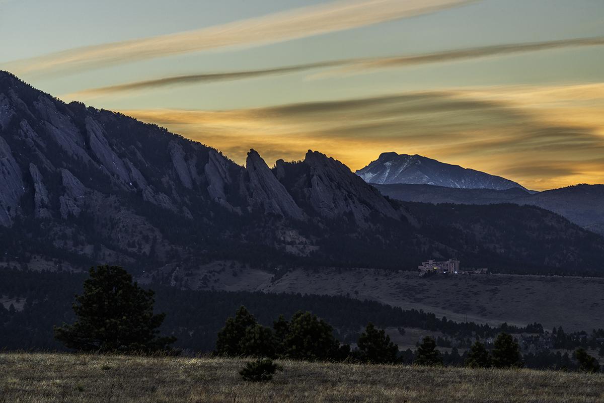 Classic Flatiron Sunset. Marshall Mesa, Colorado, 2015