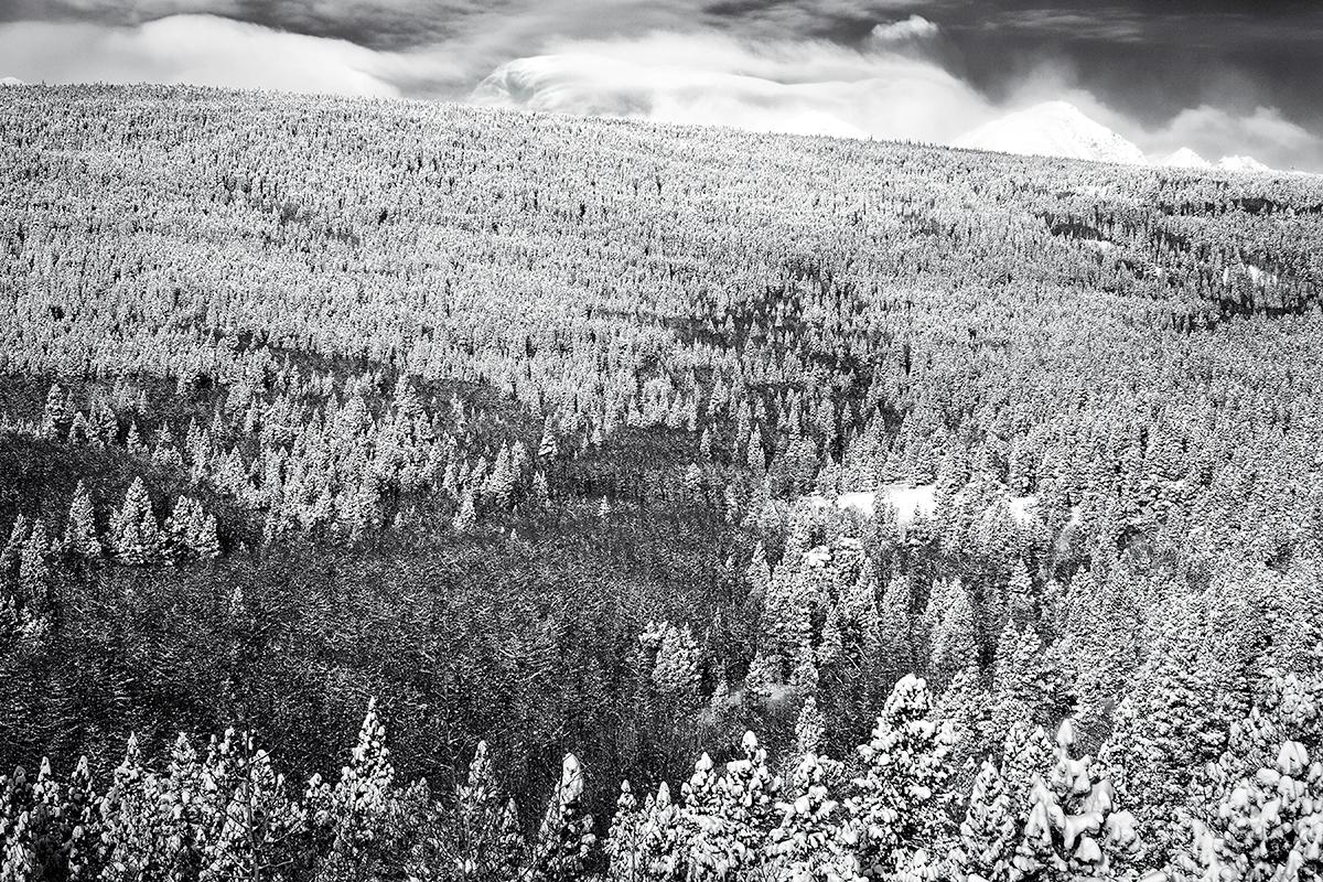 Winter Glimpse of Indian Peaks Wilderness. Peak-to-Peak Highway, Colorado, 2015