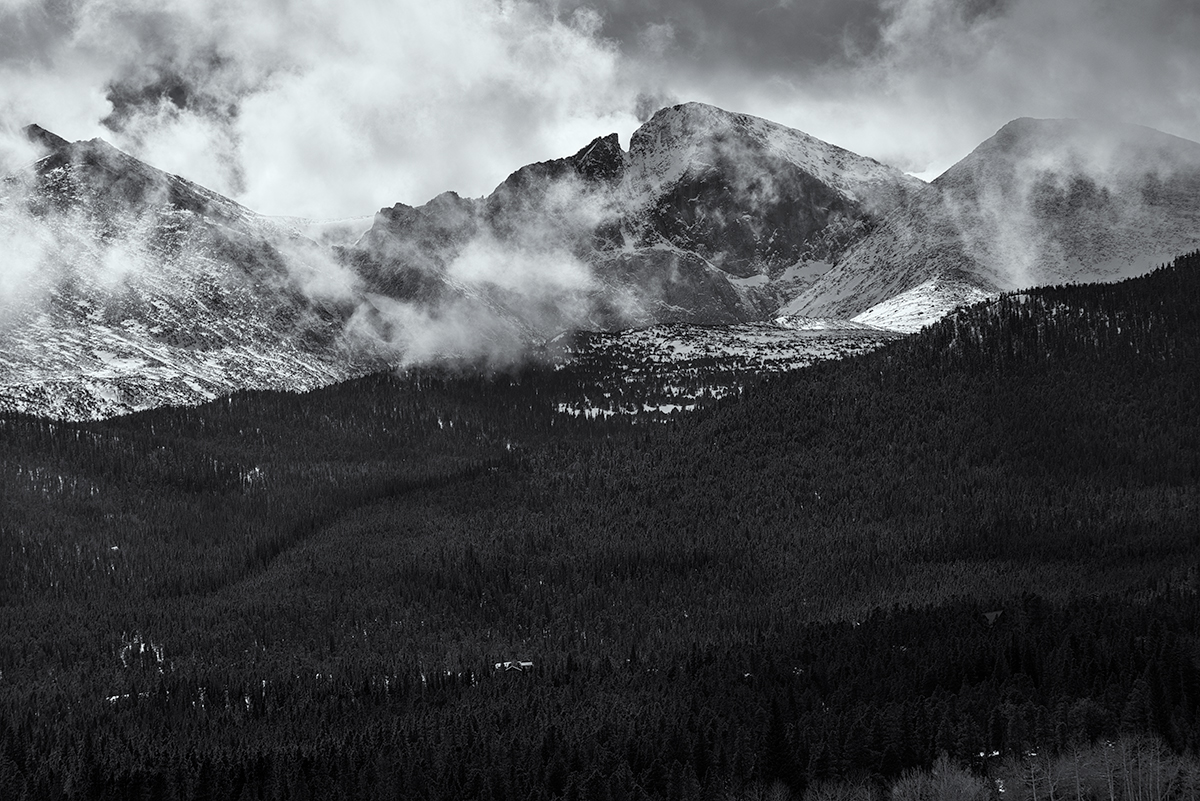 Meeker, Longs, and MLW, Clearing Storm. From Twin Sisters Trail, Colorado, 2015