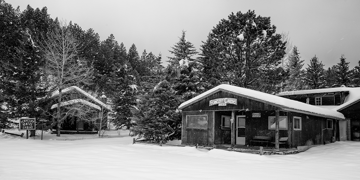 Snowstorm at Ferncliff Cabins. Ferncliff, Colorado, 2015