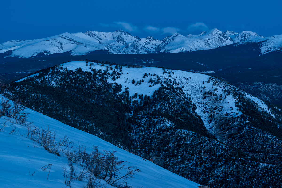 Arapaho Peaks, Pre-Dawn. From Sugarloaf Mountain, Colorado, 2015