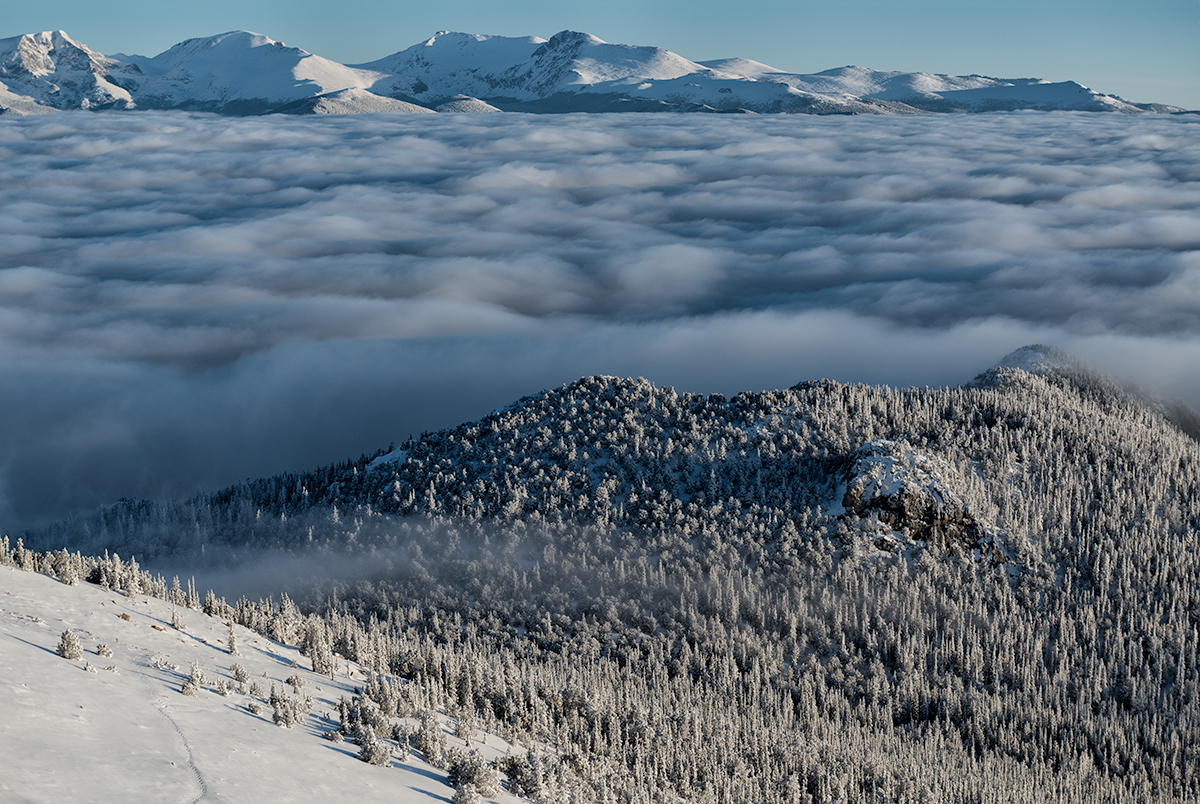 Mummy Range Above the Fog. From Twin Sisters, Colorado, 2015