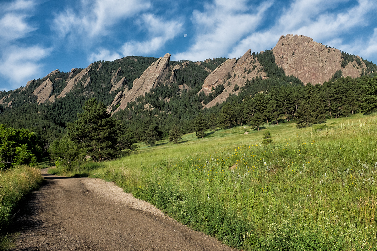 First Five Flatirons and Moon. Boulder, Colorado, 2015