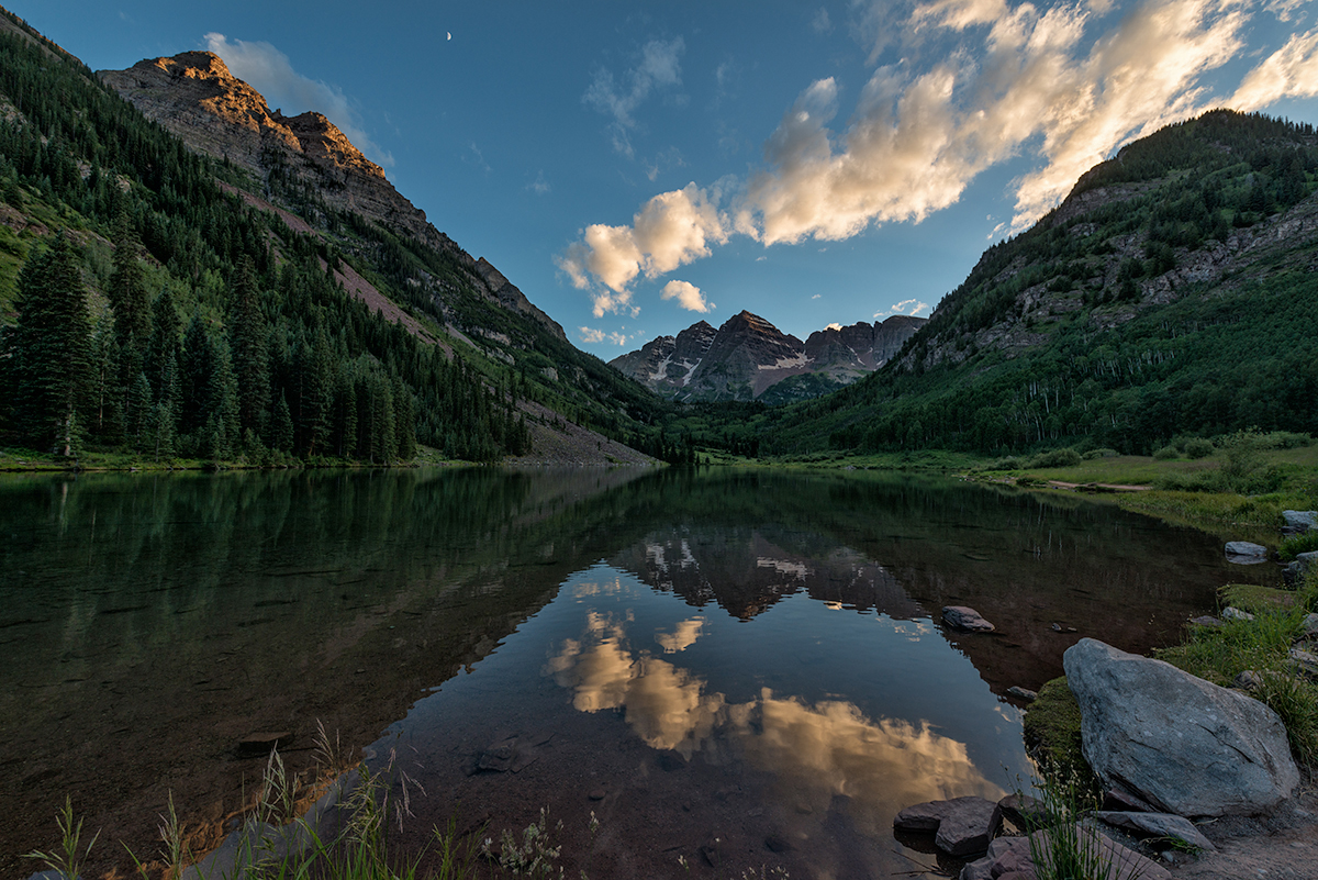 Half Moon and Sunset Over the Maroon Bells. Near Aspen, Colorado, 2015