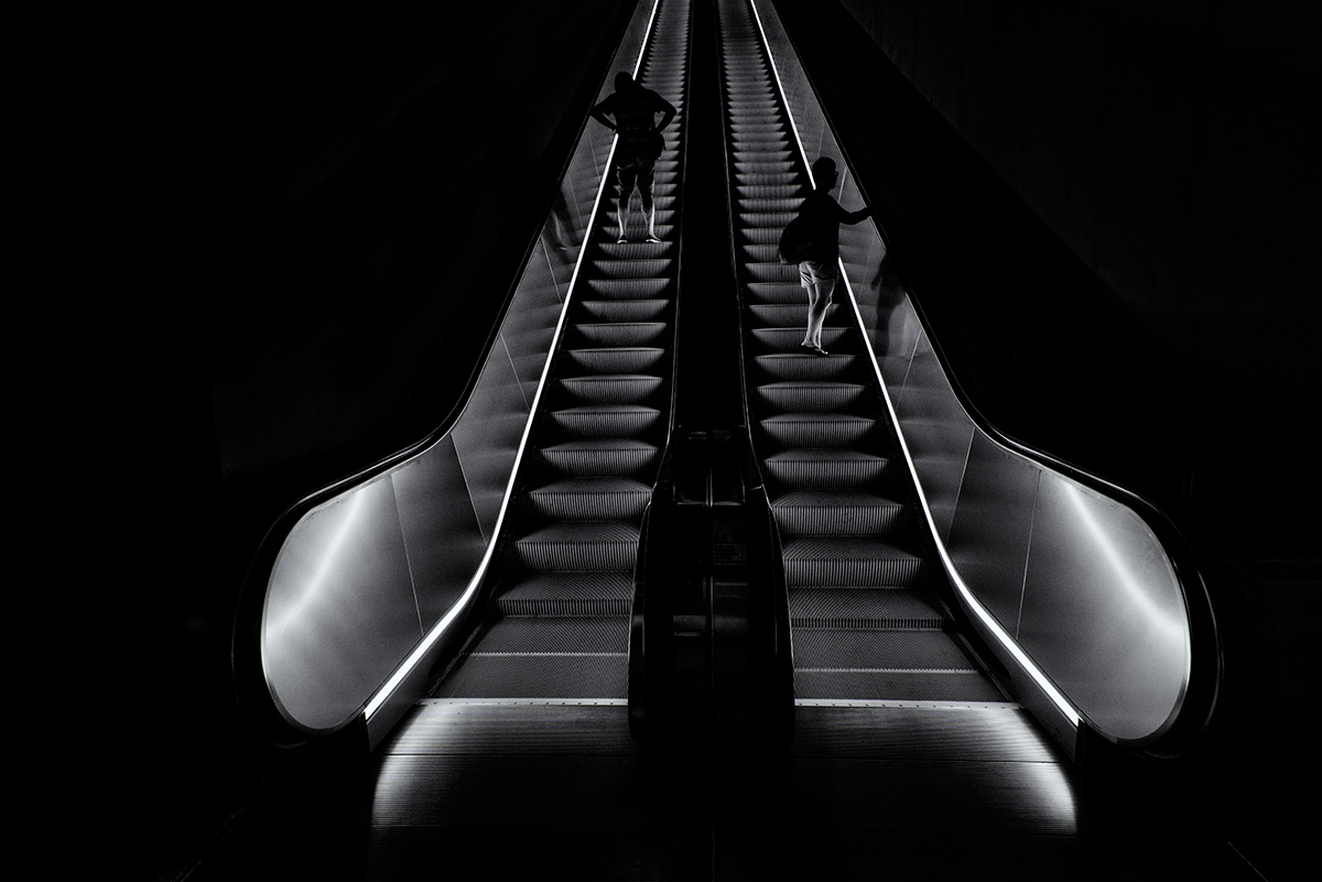 Escalator into the Darkness. New York City, 2015