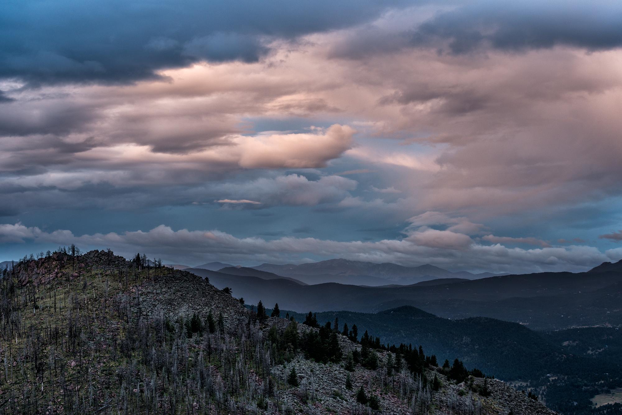 South Boulder Peak and Mt. Evans. From Bear Peak, Boulder, Colorado, 2015