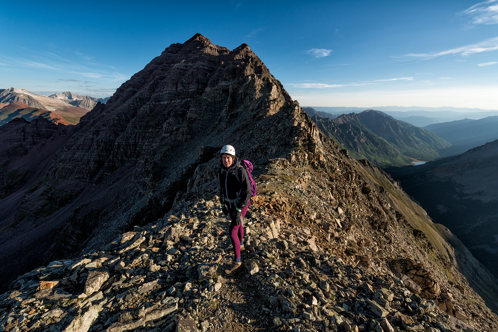 Maider, Maroon Peak South Ridge. Colorado, 2015. Looking up the route to the pyramidal summit crown. (Snowmass and Capitol are visible on the left, and Maroon Lake on the right.)