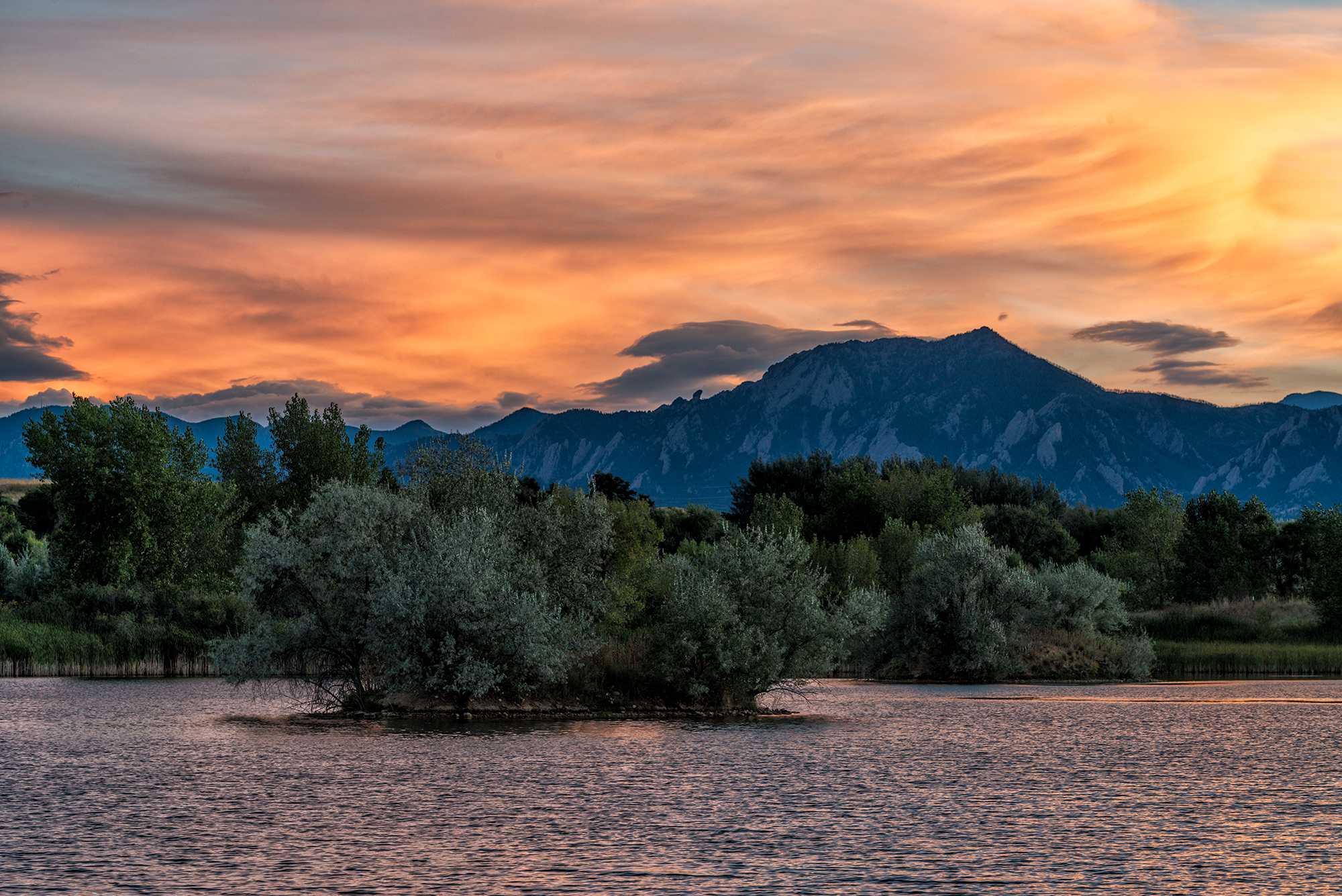 Flatiron-Sawhill Sunset. Sawhill Ponds, Colorado, 2015