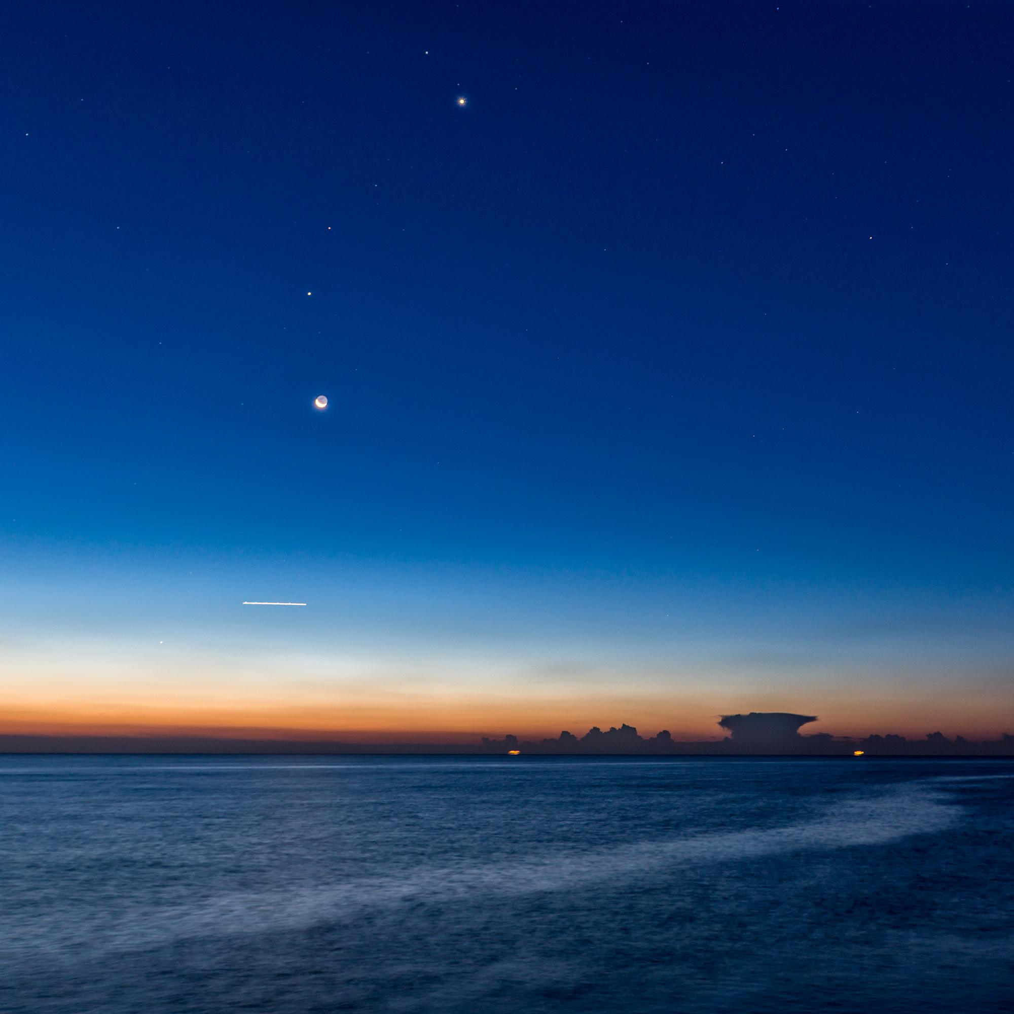 Venus, Crescent Moon, Plane, and Boats. Barcelona, 2015