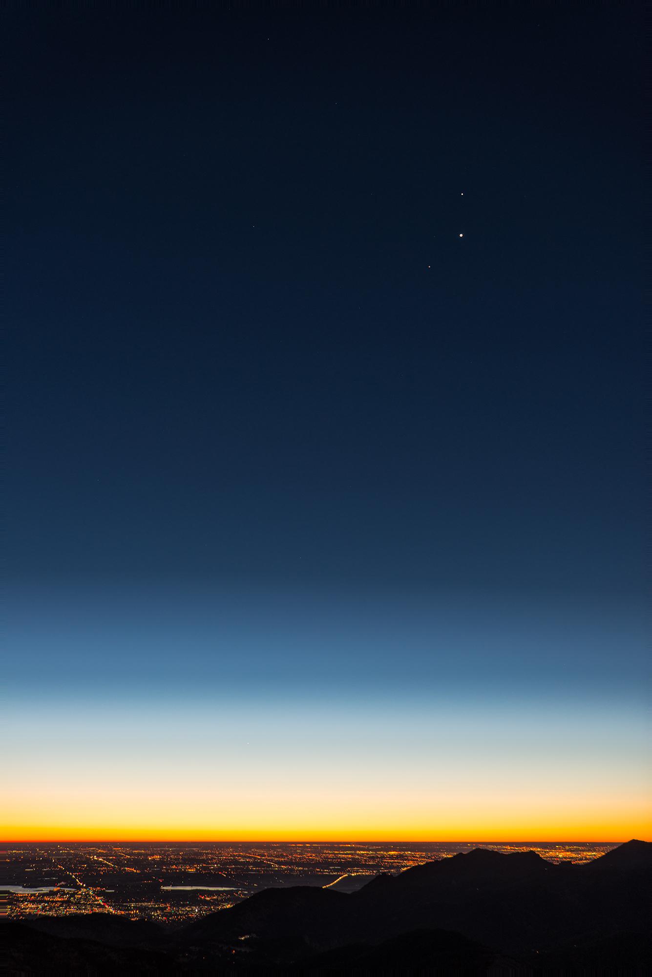 Mars, Venus, and Jupiter Above Denver-Boulder. Sugarloaf Mountain, Colorado, 2015