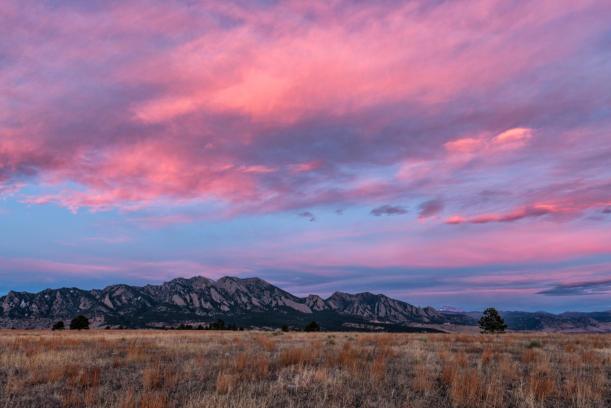 Pink Over the Flatirons. Boulder, Colorado, 2015
